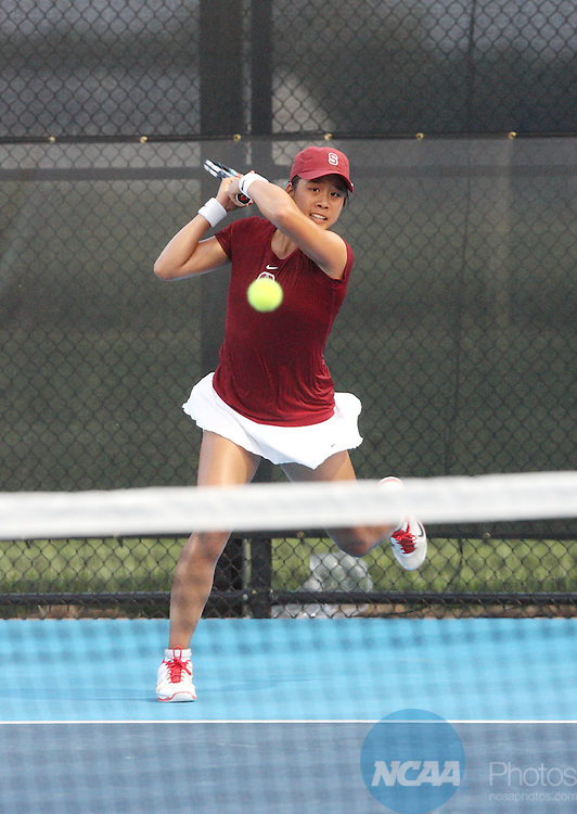 21 MAY 2013: Ellen Tsay of Stanford University  hits a two-hand backhand against Anna Mamalat of Texas A&M University during the Division I Women's Tennis Championship held at the Khan Outdoor Tennis Complex on the University of Illinois campus in Urbana, IL.  Sanford defeated Texas A&M 4-3 to win the national title.  Clark Brooks/NCAA Photos