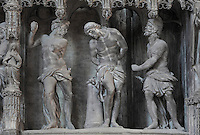 The Flagellation of Christ, by Simon Mazieres, 1713-16, from the choir screen, Chartres Cathedral, Eure-et-Loir, France. Chartres cathedral was built 1194-1250 and is a fine example of Gothic architecture. It was declared a UNESCO World Heritage Site in 1979. Picture by Manuel Cohen.