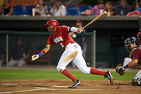 Auburn Doubledays third baseman Kelvin Gutierrez (5) at bat during a game against the Mahoning Valley Scrappers on September 4, 2015 at Falcon Park in Auburn, New York.  Auburn defeated Mahoning Valley 5-1.  (Mike Janes/Four Seam Images)
