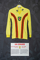 Ian Edwards' 1976/79 Wales away shirt is displayed at The Art of the Wales Shirt Exhibition at St Fagans National Museum of History in Cardiff, Wales, UK. Monday 11 November 2019