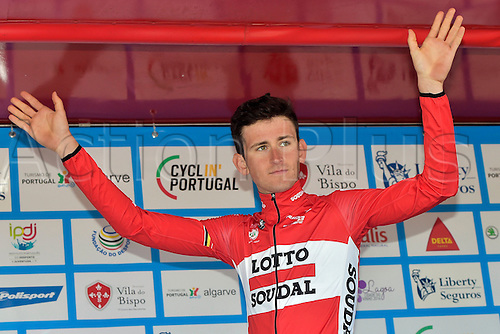 19.02.2016. Sagres, Portual.  BENOOT Tiesj (BEL) Rider of LOTTO SOUDAL celebrates the lead in the best youngster ranking with the white jersey during the podium ceremony after stage 3 of the 42nd Tour of Algarve cycling race, an individual time trial of 18km, with start and finish in Sagres on February 19, 2016 in Sagres, Portugal.