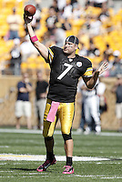 PITTSBURGH, PA - OCTOBER 09: Ben Roethlisberger #7 of the Pittsburgh Steelers warms up prior to the game against the Tennessee Titans on October 9, 2011 at Heinz Field in Pittsburgh, Pennsylvania.  (Photo by Jared Wickerham/Getty Images)