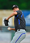 18 July 2013: Aberdeen Ironbirds pitcher Dylan Rheault warms up prior to a game against the Vermont Lake Monsters at Centennial Field in Burlington, Vermont. The Lake Monsters rallied to defeat the Ironbirds 6-4 in NY Penn League action. Mandatory Credit: Ed Wolfstein Photo