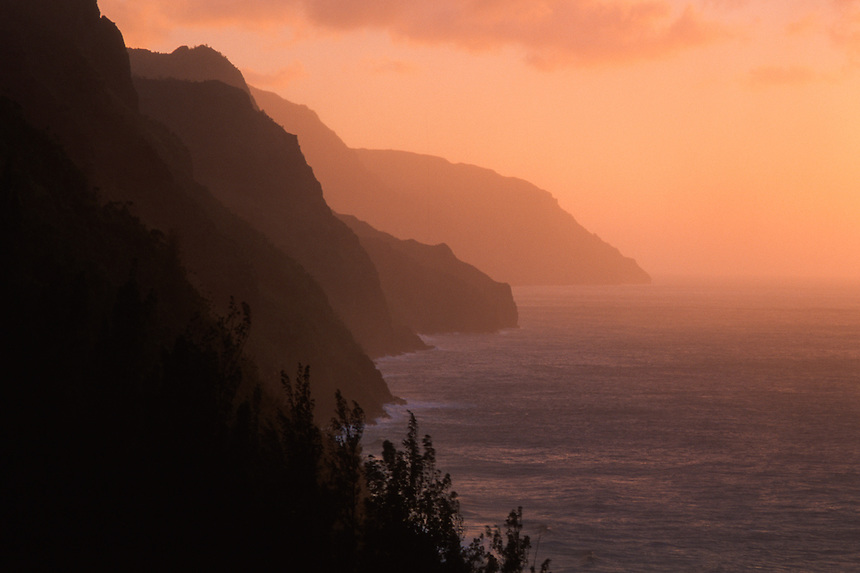 Na Pali Cliffs at Sunset from Kalalau Trail, Kauai, Hawaii, US