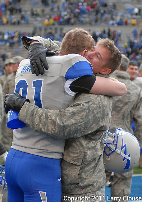 November 5, 2011: Air Force players and cadets celebrate following a service academy rivalry game between the Army Black Knights and the Air Force Falcons at Falcon Stadium, United States Air Force Academy, Colorado Springs, CO.  Air Force defeats Army 24-14 and retains the Commander-In-Chief's Trophy.