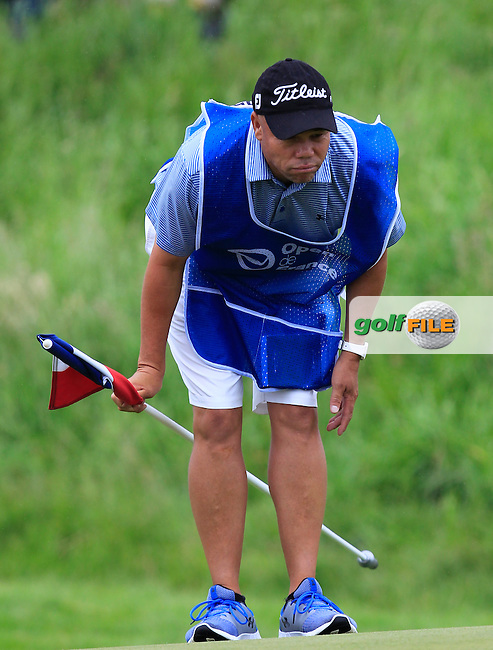 Shane caddy for Bernd Wiesberger (AUT) on the 9th green during Round 4 of the 100th Open de France, played at Le Golf National, Guyancourt, Paris, France. 03/07/2016. <br /> Picture: Thos Caffrey | Golffile<br /> <br /> All photos usage must carry mandatory copyright credit   (&copy; Golffile | Thos Caffrey)
