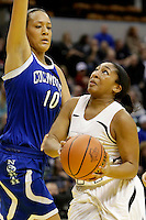Penn guard Kamra Solomon (44) puts up a layup in front of Columbus North forward Imani Guy (10) during the IHSAA Class 4A Girls Basketball State Championship Game on Saturday, Feb. 27, 2016, at Bankers Life Fieldhouse in Indianapolis.
