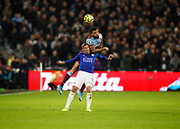28th December 2019; London Stadium, London, England; English Premier League Football, West Ham United versus Leicester City; Ryan Fredericks of West Ham United wins the header over Marc Albrighton of Leicester City - Strictly Editorial Use Only. No use with unauthorized audio, video, data, fixture lists, club/league logos or 'live' services. Online in-match use limited to 120 images, no video emulation. No use in betting, games or single club/league/player publications
