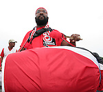 15 June 2006: A Trinidad fan bangs a large drum outside the stadium. England played Trinidad and Tobago at the Frankenstadion in Nuremberg, Germany in match 19, a Group B first round game, of the 2006 FIFA World Cup.