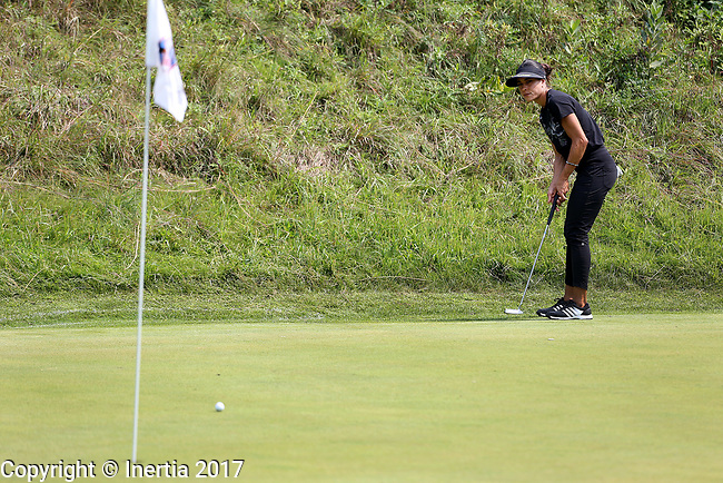 SIOUX FALLS, SD - AUGUST 31: Veronica Felibert, from Venezuela, rolls her birdie putt on to the 7th green, her 16th hole, during the first round of the Great Life Challenge, Symetra Tour stop at Willow Run Thursday afternoon. (Photo by Dave Eggen/Inertia)
