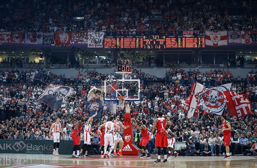 Kosarka Euroleague season 2016-2017<br /> Crvena Zvezda v Olympiacos (Athens)<br /> Georgios Printezis (R) and Ognjen Kuzmic<br /> Beograd, 22.03.2017.<br /> foto: Srdjan Stevanovic/Starsportphoto &copy;