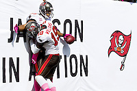 TAMPA, FL - OCTOBER 14: Wide Receiver Vincent Jackson #83 of the Tampa Bay Buccaneers celebrates a touchdown with Wide Receiver Mike Williams #19 during the game against the Kansas City Chiefs at Raymond James Stadium on October 14, 2012, in Tampa, Florida. The Buccaneers won 38-10. (photo by Matt May/Tampa Bay Buccaneers)