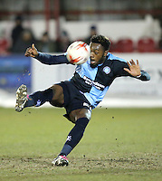 Gozie Ugwu of Wycombe Wanderers <br /> <br /> during the Sky Bet League 2 match between Accrington Stanley and Wycombe Wanderers at the Wham Stadium, Accrington, England on 16 March 2016. Photo by Tony (KIPAX) Greenwood / PRiME Media Images.