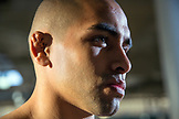 USA, Oahu, Hawaii, portrait of Jujitsu Martial Arts fighter Alberto Trujillo before the start of the ICON grappling tournament in Honolulu, Cauliflower Ear