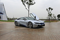 Ian Poulter (ENG) and Wu Ashun (CHN) in the BMW i8 for a challenge during Wednesday's Pro-Am Day of the 2014 BMW Masters held at Lake Malaren, Shanghai, China 29th October 2014.<br /> Picture: Eoin Clarke www.golffile.ie