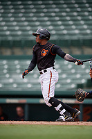 GCL Orioles Frank Tolentino (14) bats during a Gulf Coast League game against the GCL Braves on August 5, 2019 at Ed Smith Stadium in Sarasota, Florida.  GCL Orioles defeated the GCL Braves 4-3 in the second game of a doubleheader.  (Mike Janes/Four Seam Images)
