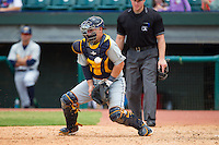Montgomery Biscuits catcher Jake DePew (31) blocks a throw at home plate during the Southern League game against the Chattanooga Lookouts at AT&T Field on July 23, 2014 in Chattanooga, Tennessee.  The Lookouts defeated the Biscuits 6-5. (Brian Westerholt/Four Seam Images)