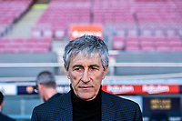 14th January 2020; Camp Nou, Barcelona, Catalonia, Spain; Press Conference for the introduction of the new manager Barcelona manager Quique Setien;  Quique Setien in Camp Nou - Editorial Use