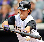 10 September 2006: Jeff Salazar, outfielder for the Colorado Rockies, in action against the Washington Nationals. The Rockies defeated the Nationals 13-9 at Coors Field in Denver, Colorado...Mandatory Photo Credit: Ed Wolfstein.