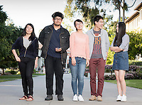 "From left: Yiyun ""Eva"" Wang '17, Huntington Wu '19, Shuyi ""Eliza"" Chen '17, Chenli ""Henry"" Yuan '18 and Lyra Yu '18 strike a pose near the quad, March 17, 2016.<br />