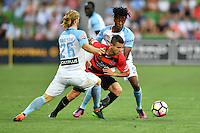 Melbourne, 6 January 2017 - NICOLÁS MARTÍNEZ (10) of the Wanderers and LUKE BRATTAN (26) of Melbourne City compete for the ball in the round 14 match of the A-League between Melbourne City and Western Sydney Wanderers at AAMI Park, Melbourne, Australia. Melbourne won 1-0 (Photo Sydney Low / sydlow.com)