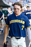 Michigan Wolverines outfielder Jesse Franklin (7) before Game 3 of the NCAA College World Series Finals on June 26, 2019 at TD Ameritrade Park in Omaha, Nebraska. Vanderbilt defeated Michigan 8-2 to win the National Championship. (Andrew Woolley/Four Seam Images)