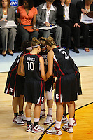 6 April 2008: Stanford Cardinal Rosalyn Gold-Onwude, JJ Hones, Kayla Pedersen, Jayne Appel, and Candice Wiggins during Stanford's 82-73 win against the Connecticut Huskies in the 2008 NCAA Division I Women's Basketball Final Four semifinal game at the St. Pete Times Forum Arena in Tampa Bay, FL.