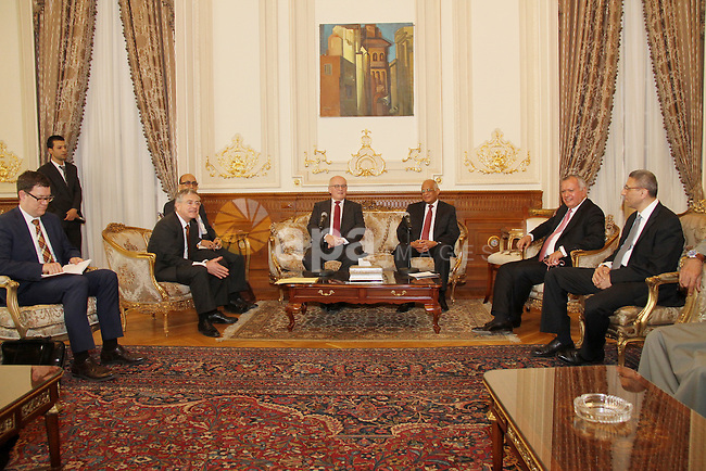 The leader of the majority of German Parliament, Volker Cawdor, meets with Egyptian parliament in Cairo, Egypt, on April 07, 2016. Photo by Stranger