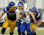 BROOKINGS, SD - APRIL 23:  Brady Mengerelli #44 from South Dakota State breaks loose past the defense during their Spring Game Saturday afternoon at the Sanford Jackrabbit Athletic Complex in Brookings.  (Photo by Dave Eggen/Inertia)