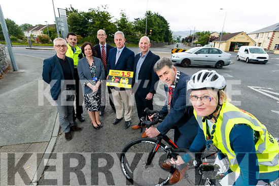 Colin Clacy, Editor Kerry's Eye, Garda Aidan O'Mahony,  CEO of Kerry County Council Moira Murrell, John Breen, KCC, Charlie O'Sullivan, KCC, Brendan Kennelly, Kerry's Eye, Mayor of Kerry, Michael O'Shea and Michelle Mullane, Road Safety Officer, Kerry County County Council, pictured at the launch of the Stayin' Alive at 1.5 campaign.