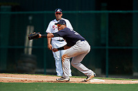 GCL Yankees West first baseman Jesus Graterol (31) waits to receive a throw during the second game of a doubleheader against the GCL Braves on July 30, 2018 at Champion Stadium in Kissimmee, Florida.  GCL Braves defeated GCL Yankees West 5-4.  (Mike Janes/Four Seam Images)