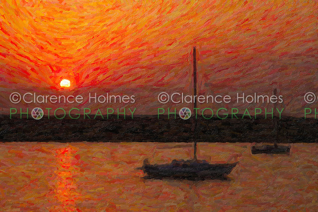 Sunrise over Anastasia Island in St. Augustine, Florida.  The image was creatively modified to resemble a painting.