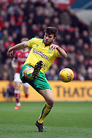Grant Hanley of Norwich City clears the ball from danger during Bristol City vs Norwich City, Sky Bet EFL Championship Football at Ashton Gate on 13th January 2018