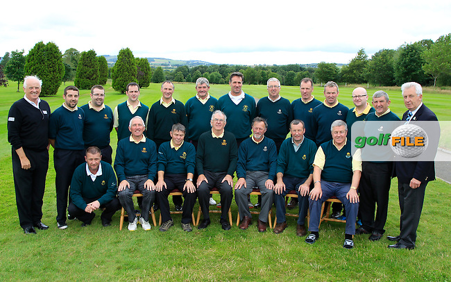 The Thurles Team with Brendan McKenna (Sponsor AIG) and John Moloughney (Chair Munster branch G.U.I) during the Final round of the Munster Bruen &amp; Purcell Shield Finals at East Clare Golf Club on Sunday 19th July 2015.<br /> Picture:  Golffile | Thos Caffrey All photo usage must carry mandatory copyright credit (&copy; Golffile | Thos Caffrey)