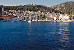 Croatia, Hvar, Hvar Island, Dalmatian Islands, historic Venetian harbor, architecture, yachts, sailboats, Dalmatian coast, Adriatic Sea, Europe,
