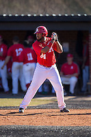Leighton Gibson (34) of the Belmont Abbey Crusaders at bat against the Shippensburg Raiders at Abbey Yard on February 8, 2015 in Belmont, North Carolina.  The Raiders defeated the Crusaders 14-0.  (Brian Westerholt/Four Seam Images)