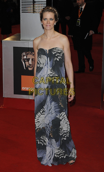 EDITH BOWMAN.Arrivals at the Orange British Academy Film Awards 2010 at the Royal Opera House, Covent Garden, London, England, UK, .21st February 2010.BAFTA BAFTAs full length black strapless grey gray print long maxi sheath dress blue white .CAP/CAN.©Can Nguyen/Capital Pictures