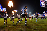 Taulupe Faletau and the rest of the Bath Rugby team run onto the field. Aviva Premiership match, between Bath Rugby and Exeter Chiefs on March 23, 2018 at the Recreation Ground in Bath, England. Photo by: Patrick Khachfe / Onside Images