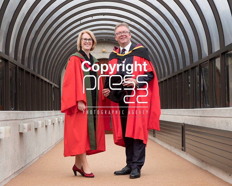 24/08/2017<br /> Dr Brian Keegan, Director of Public Policy and Taxation with Chartered Accountants Ireland  pictured at the University of Limerick where he was conferred with a doctorate in Tax and Decision Making.<br /> Pictured here with his joint supervisor Dr Elaine Doyle.<br /> Pic: Don Moloney / Press 22
