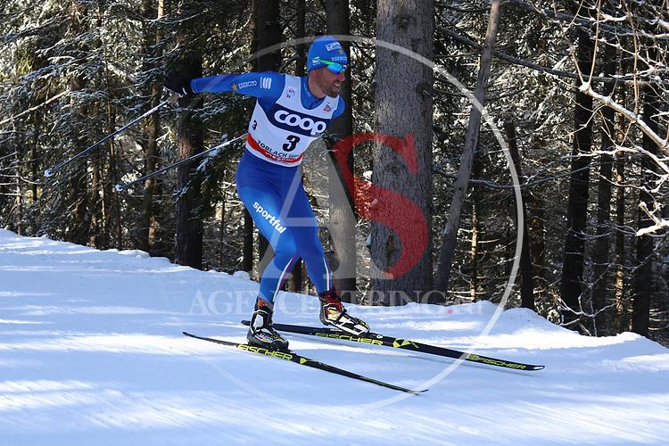 Cross Country Ski World Cup 2018 FIS in Dobbiaco, Toblach, on December 16, 2017; Men 15 Km Interval Start Free technique ; Fabio Pasini (ITA)<br /> &copy; Pierre Teyssot / Pentaphoto