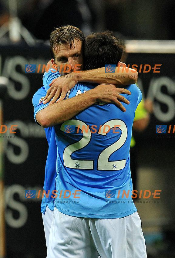 """Esultanza dopo il gol di Hugo CAMPAGNARO (Napoli) goal celebration.Milano 1/10/2011 Stadio """"Giuseppe Meazza"""".Serie A 2011/2012.Football Calcio Inter Vs Napoli.Foto Insidefoto Alessandro Sabattini."""