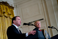 U.S. President Donald Trump listens as Stefan Lofven, Sweden's prime minister, left, speaks during a news conference in the East Room of the White House in Washington, D.C., U.S., on Tuesday, March 6, 2018. Trump and Lofven are looking to focus on trade and investment between the two countries and ways to achieve shared defense goals. <br /> CAP/MPI/RS<br /> &copy;RS/MPI/Capital Pictures
