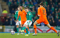 16th November 2019; Windsor Park, Belfast, Antrim County, Northern Ireland; European Championships 2020 Qualifier, Northern Ireland versus Netherlands; Steven Davis(c) of Northern Ireland passes the ball forward - Editorial Use