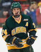 Ben Sexton (Clarkson - 74) - The Harvard University Crimson defeated the visiting Clarkson University Golden Knights 3-2 on Harvard's senior night on Saturday, February 25, 2012, at Bright Hockey Center in Cambridge, Massachusetts.