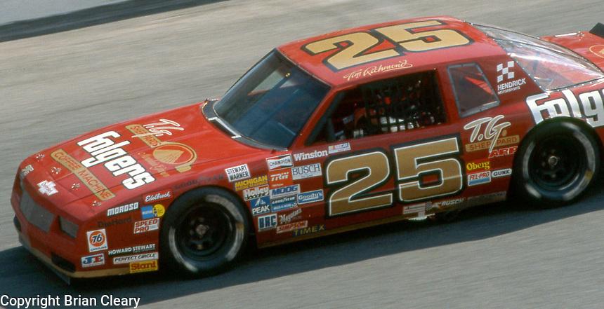Tim Richmond (25) Chevrolet 7th place  Motorcraft 500 at Atlanta International Raceway in Hampton, GA on March 16, 1986.   (Photo by Brian Cleary/www.bcpix.com)