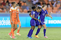 Houston, TX - Saturday June 17, 2017: Jasmyne Spencer and Rachel Hill celebrate with Marta Vieira Da Silva after scoring a goal during a regular season National Women's Soccer League (NWSL) match between the Houston Dash and the Orlando Pride at BBVA Compass Stadium.