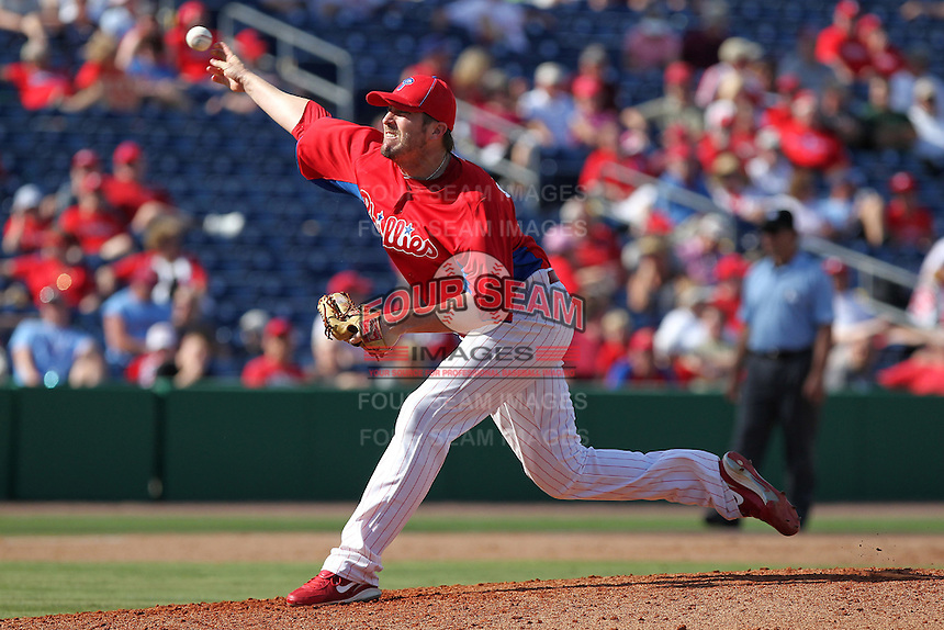 Philadelphia Phillies pitcher Chad Qualls #50 delivers a pitch during a spring training game against the Houston Astros at Bright House Field on March 7, 2012 in Clearwater, Florida.  (Mike Janes/Four Seam Images)