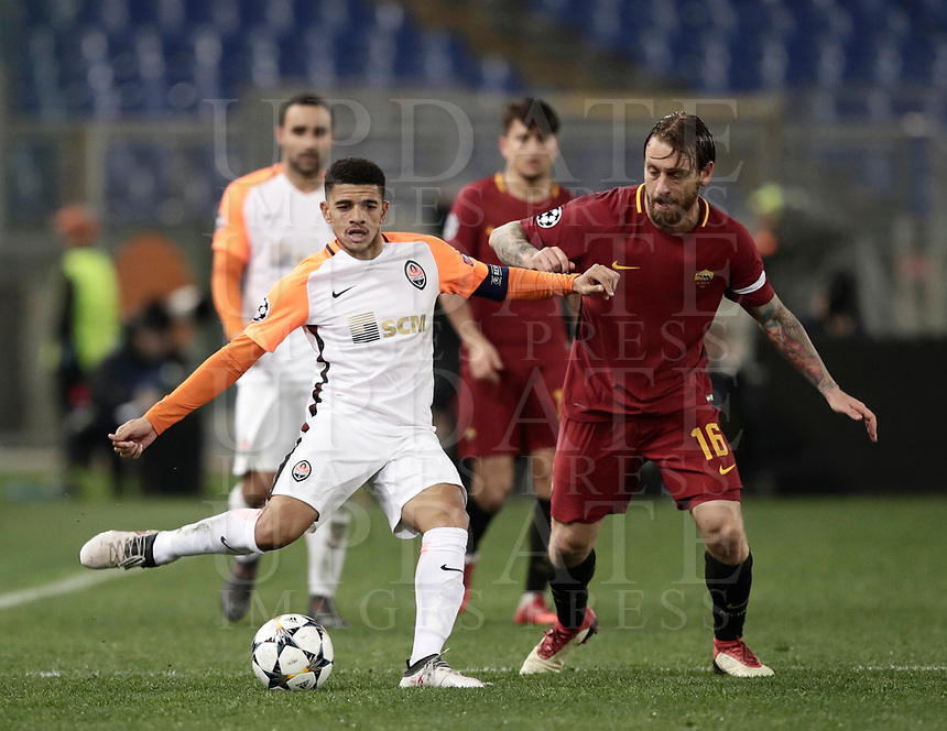 Football Soccer: UEFA Champions League  Round of 16 Second Leg, AS Roma vs FC Shakhtar Donetsk, Stadio Olimpico Rome, Italy, March 13, 2018. <br /> Shakhtar Donetsk's Captain Taison (l) in action with Roma's Captain Daniele De Rossi (r) during the Uefa Champions League football soccer match between AS Roma and FC Shakhtar Donetsk at Rome's Olympic stadium, March 13, 2018.<br /> UPDATE IMAGES PRESS/Isabella Bonotto