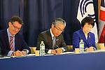 (L to R)  Sebastian Coe, Tsunekazu Takeda, Fumiko Hayashi, FEBRUARY 8, 2016 : BOA-JOC-Yokohama-Kawasaki-Keio University MOU Signing Ceremony in Tokyo, Japan. (Photo by YUTAKA/AFLO SPORT)