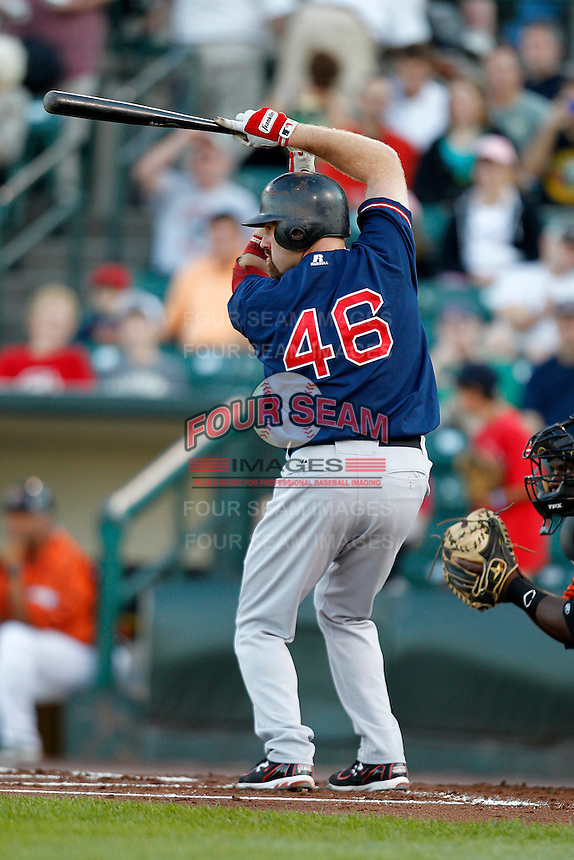 Boston Red Sox designated hitter Kevin Youkilis #46 at bat during the first inning of a rehab assignment game with the Pawtucket Red Sox against the Rochester Red Wings at Frontier Field on August 30, 2011 in Rochester, New York.  (Mike Janes/Four Seam Images)